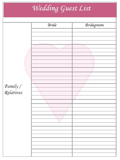 Printable Wedding Guest List  Bridal Party List Template