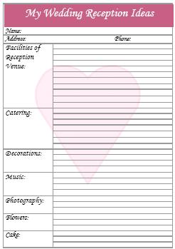Reception Checklist For Wedding Planner