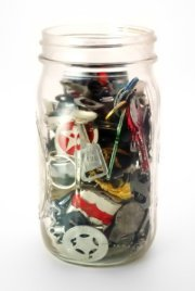 how to declutter - jar filled with junk