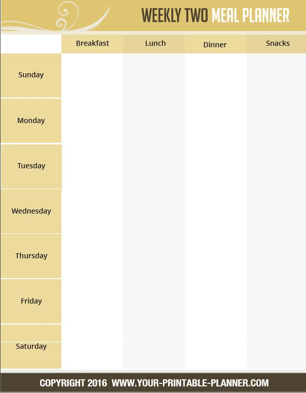 Menu Planner Page - Weekly Meal Plan from the Complete Household Notebook