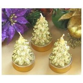 gold christmas tree tea light candles for a christmas wedding