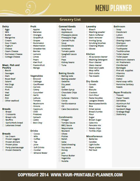 Free printable grocery list to match your weekly menus for Menu planning template with grocery list
