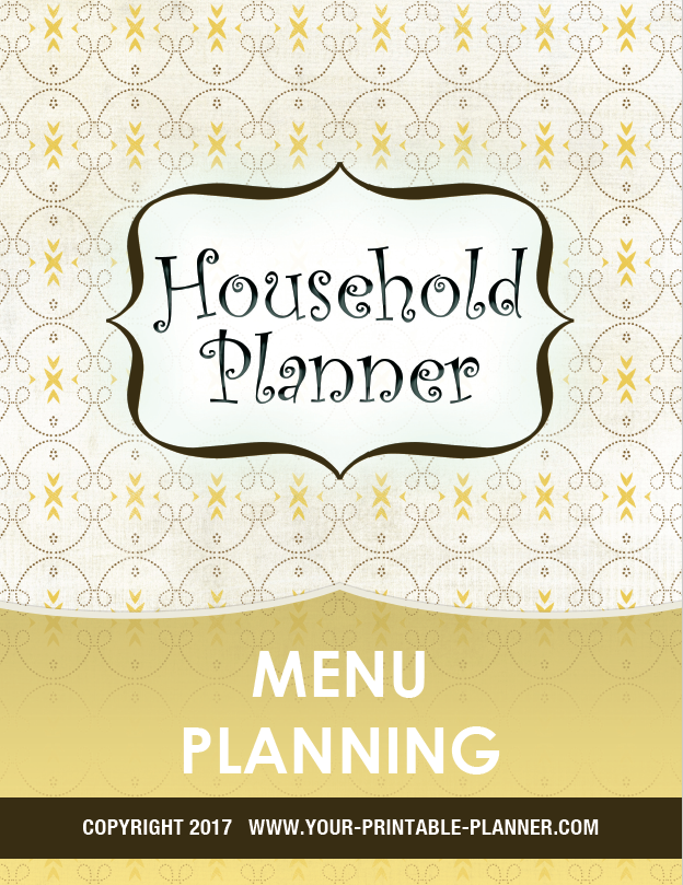 Menu Planner Cover Page - a part of the Complete Household Notebook