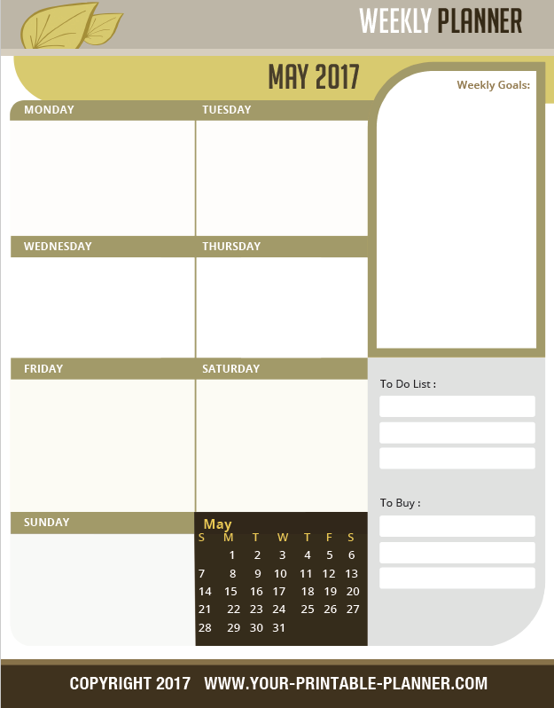 Weekly Planner Page 2017 from Complete Household Notebook - www.your-printable-planner.com