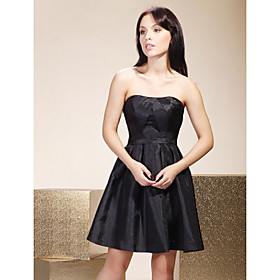 taffeta black bridesmaid dress