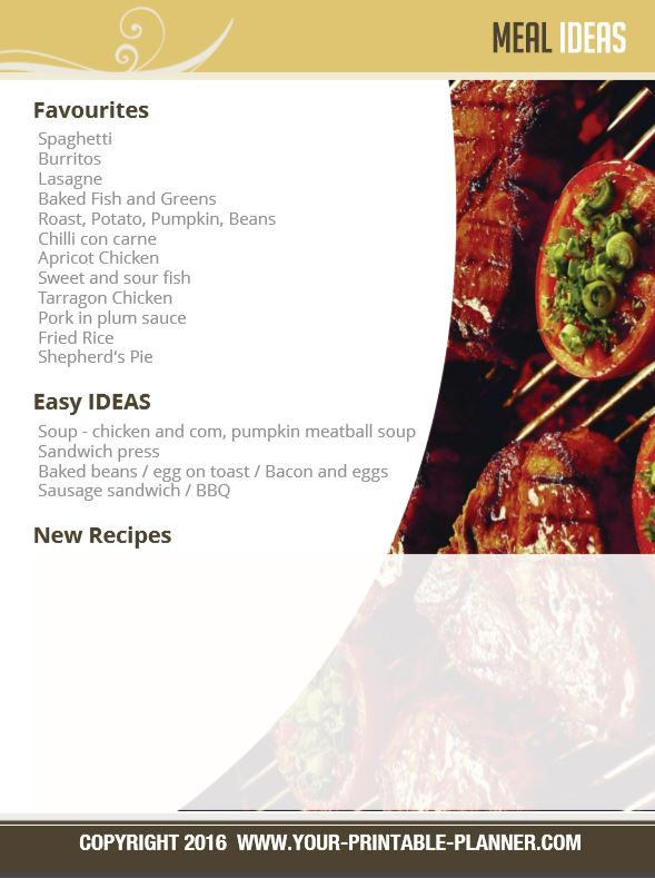 Meal Ideas Page from the Menu Planner from www.your-printable-planner.com