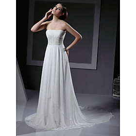 Chiffon A-line with Lace on Empire Wedding Dress