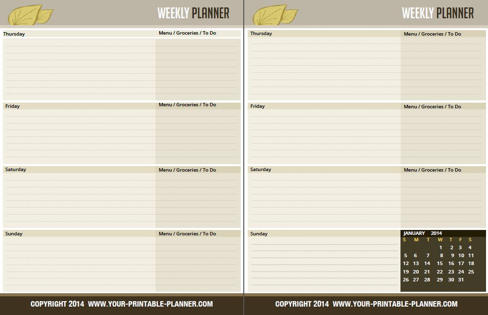 Complete household notebook no excuses for 2017 for 2 page weekly calendar template