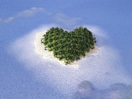 Heart shaped island on a turquoise blue ocean