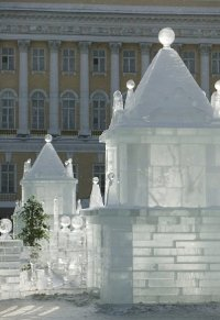 ice caste replica of st petersburg in Russia
