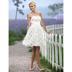 A-line Sweetheart Knee-length Lace Elastic Woven Satin Wedding Dress